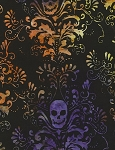 Tonga B5424 Haunted Batik Skull Damask, Timeless Treasures