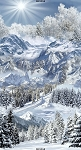Winter Snow Mountain C6127 Snow Panel, Timeless Treasures