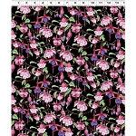 Fuchsias and Hummingbirds Y2355 3 Black, Clothworks