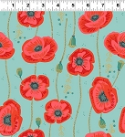 Quilt Minnesota 2018 Y2440 103 Light Teal Poppies, Clothworks