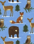 Timeless Treasures CF3449 Blue Flannel Winter Woodland Animals