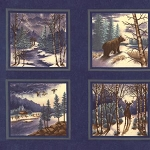 Winter Forest Flannel 6600 15F Blue Panel, Holly Taylor by Moda