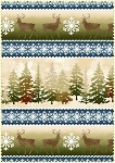 Wonder of Winter Flannel F3002 B Blue Forest Deer Border Print, Maywood Studio