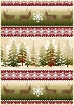 Wonder of Winter Flannel F3002 R Red Forest Deer Border Print, Maywood Studio