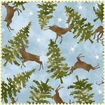 Wonder of Winter Flannel F3005 B Blue Deer Trees, Maywood Studio