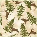 Wonder of Winter Flannel F3005 E Cream Deer Trees, Maywood Studio