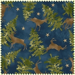 Wonder of Winter Flannel F3005 N Blue Deer Trees, Maywood Studio