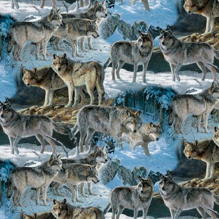 Wolves at the River 31558 Digital, David Textiles
