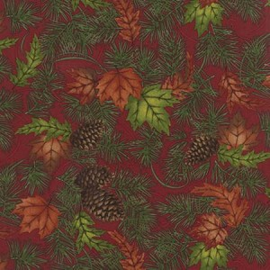 Turning Leaves 6571 13 Large Leaves Pine Burgundy, Holly Taylor by Moda