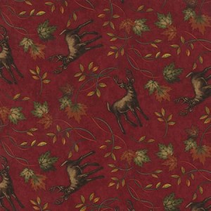 Turning Leaves 6573 13 Deer Burgundy, Holly Taylor by Moda