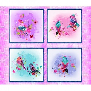 Multi Bright Birds 14987 Multi Digital Panel, 3 Wishes Fabric