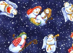 Red Rooster Snowy Night 19909 Blu1 Allover Snowmen