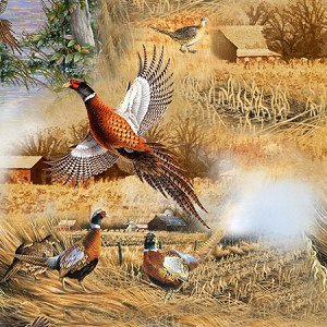 Pheasant Fields 27243 X Pheasant Scenic, Quilting Treasures