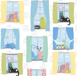 Whiskers Cats in Windows 28020 Z White Quilting Treasures