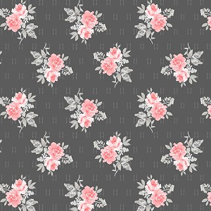 Colette 52053 2 Charcoal Small Rose Bouquet Windham Fabrics
