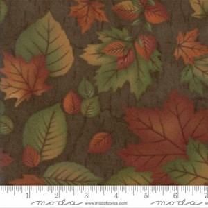 Endangered Sanctuary Flannel 6653 18F Walnut Large Leaves, Holly Taylor by Moda