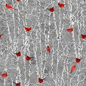 Snowy Woods 9091 90 Cardinals in Birch Trees, Henry Glass