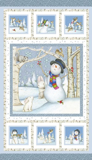Snow Babies Flannel F9538P 11 Snowman Panel, Henry Glass
