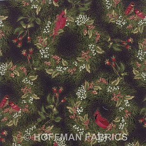 Hoffman Christmas H8823 4G Black Cardinal Wreath | Hingeley Road Quilting