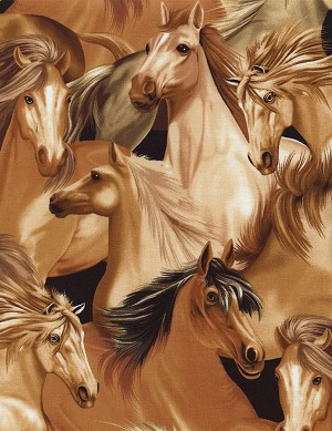 Timeless Treasures Flannel CF1585 Brown Horses