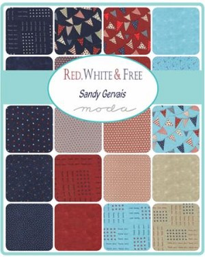 Red White and Free Layer Cake, Sandy Gervais by Moda