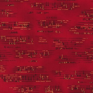 All That Jazz 13629 223 Red Musical Notes by Kaufman
