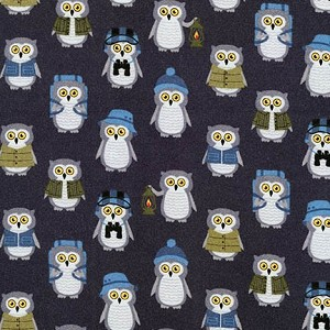 Campsite Critters Flannel 27623 279 Owls Dark Grey, Robert Kaufman
