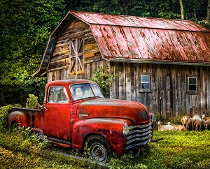 Truck at Barn Digital Panel AL37168C2, David Textiles