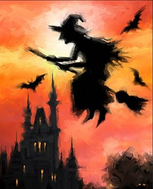 Halloween Witch on Broom Digital Panel AL38329C1, David Textiles