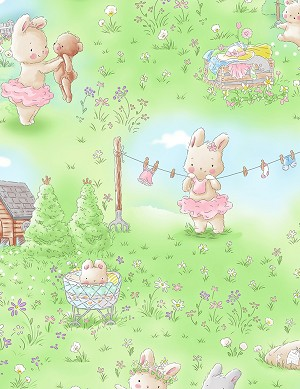 Bunnies by the Bay Flannel CF7244 Multi Bunny Meadow, Timeless Treasures