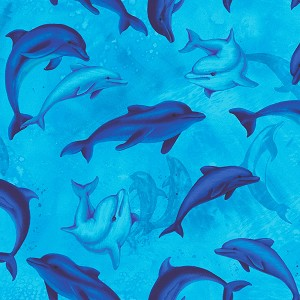 Ocean Magic C8031 Blue Swimming Dolphins Timeless Treasures