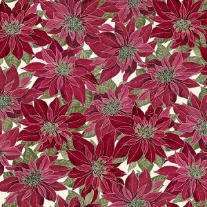 Noel CM7756 Red Poinsettas Metallic, Timeless Treasures