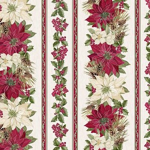 Noel CM7758 Cream Poinsettia Stripe Metallic, Timeless Treasures