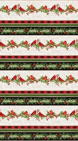 Cardinal Woods Flannel F22834 11 Border, Northcott