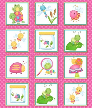 Cuddle Bug Flannel F6694 22 Pink Square Bug Panels, Henry Glass