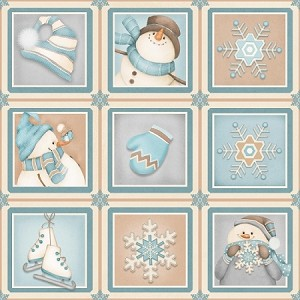 I Still Love Snow Flannel F6795 11 Snow Boxes, Henry Glass