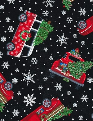 Let It Snow C6887 Black Tossed Holiday Cars with Trees, Timeless Treasures