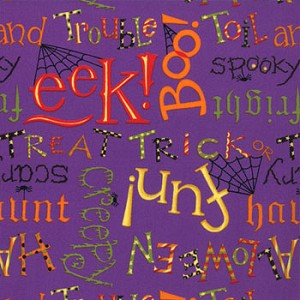 Happy Howloween 19551 14 Purple Words, Deb Strain by Moda