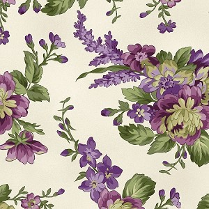 Aubergine 9152 E Floral Bouquets Cream, Maywood Studio