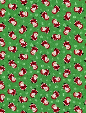 Mini Santas Flannel CF2250 Green, Timeless Treasures