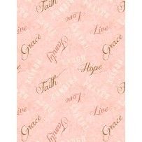 Words to Live By 82453 321 Faith, Hope, Love Pink, Wilmington Prints