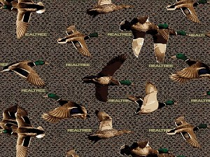 Realtree Flannel 10027 Brown Ducks, Print Concepts