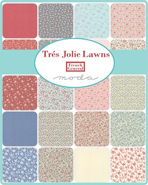 Tres Jolie Lawns Jelly Roll, French General by Moda