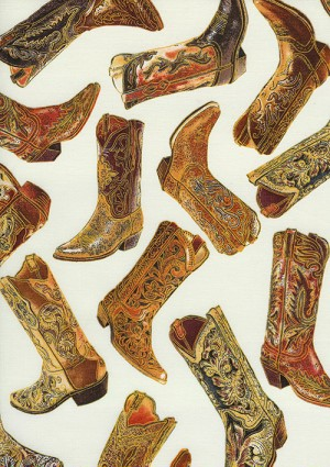 Timeless Treasures Cowboy Boots C7876 Cream