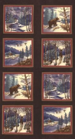 Winter Forest Flannel 6600 19F Panel Brown, Holly Taylor by Moda