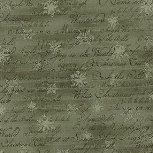 Winterlude 44046 24 Green Tonal Handwriting Christmas Carols, 3 Sisters by Moda