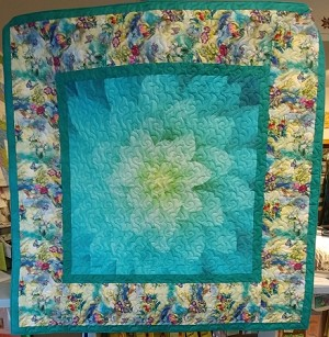 Flower Burst Digital Teal Quilt Kit